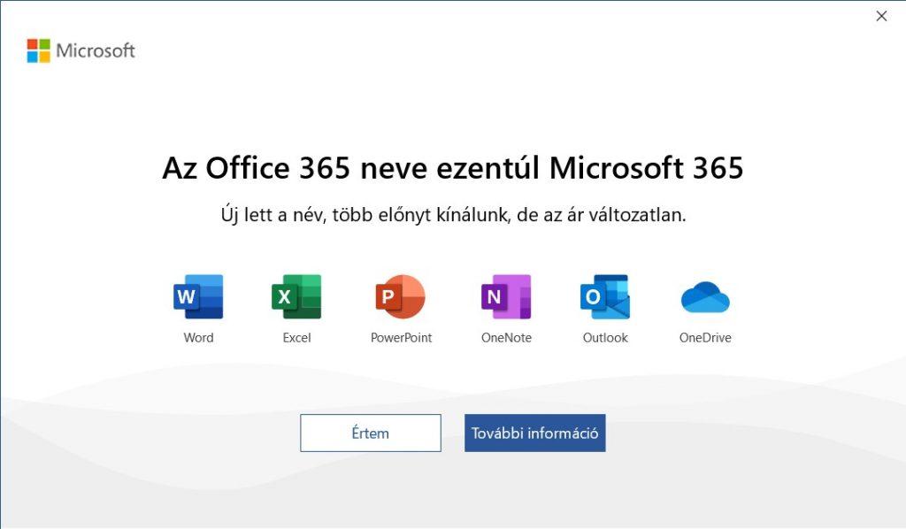 A Microsoft 365 új elnevezést bemutató ablak egy alkalmazás indítását követően.