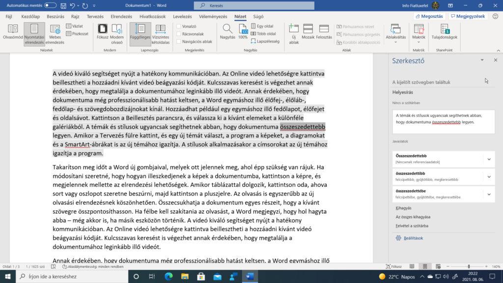 2. ábra: A megnyíló Szerkesztő ablaktábla segítségével a kijelölt szöveget alapos nyelvtani elemzésnek vethetjük alá.